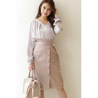◆アシメレースタイトスカート ピンクベージュ
