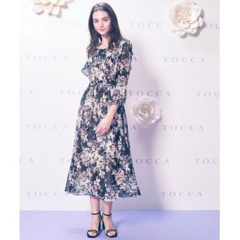 【オンワード】 TOCCA(トッカ) 【TOCCA LAVENDER】Floral Chiffon ドレス ブラック 0 レディース 【送料無料】