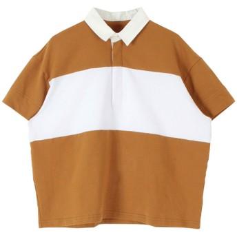 ティティベイト titivate ワイドボーダーラガーシャツ (キャメル)