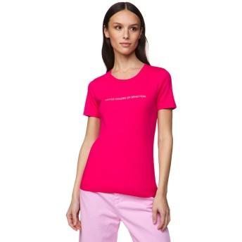 BENETTON (women) ロゴクルーネック半袖Tシャツ・カットソー(ローズ)