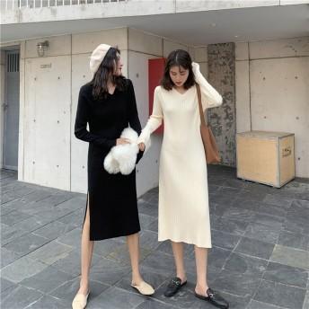 2019秋冬ニットワンピ ゆったり 韓国ファッション 大人可愛い ロングワンピース 高級品質!
