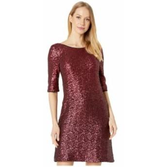 ベッツィ ジョンソン Betsey Johnson レディース ワンピース シフトドレス ワンピース・ドレス Long Sleeve Sequin Shift Dress Burgundy