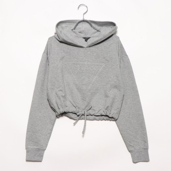 ゲス GUESS ARICA CROPPED TRIANGLE LOGO HOODIED PARKA (OVERCAST HEATHER)