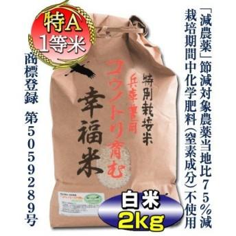 【当日精米】 お米 2kg コシヒカリ 7.5割減農薬 特別栽培米 兵庫県 但馬産 コウノトリ育む幸福米 白米 分づき可 特A 一等米 令和元年産