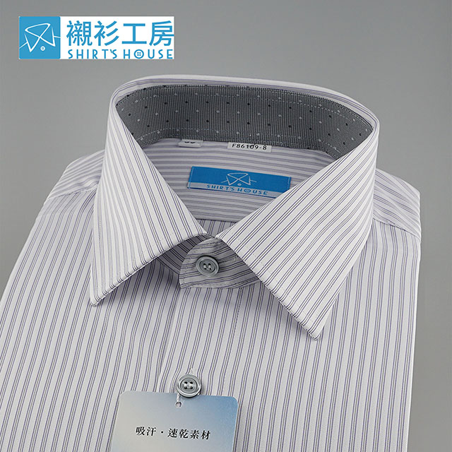 白底緹花紫色細條領座配色、吸汗速乾特殊材質、合身長袖襯衫86109-08 -襯衫工房