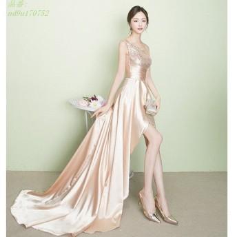 トレーン スパンコール ロングドレス ワンショルダ イブニングドレス フィッシュテール 結婚式 ベアトップ パーティードレス 編み上げ サテン 二次会 712