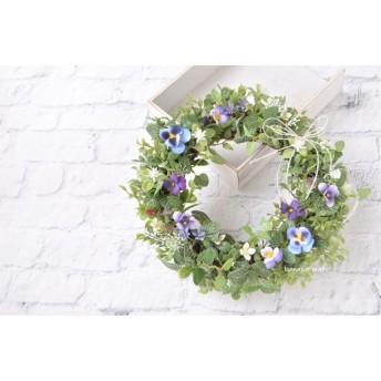 再販3 紫のすみれ花 小春リース :リース グリーン むらさき 春