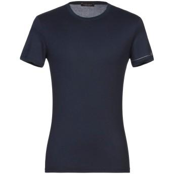 《セール開催中》ROBERTO CAVALLI メンズ T シャツ ダークブルー 48 レーヨン 95% / ポリウレタン 5%