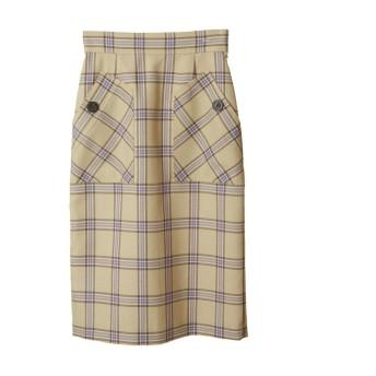 (31 Sons de mode/トランテアンソンドゥモード)ビックポケットチェックタイトスカート/レディース イエロー