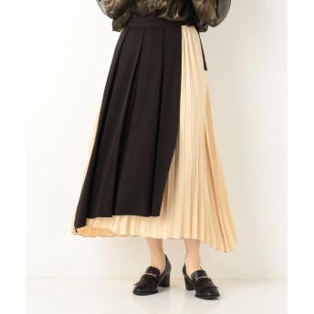 (archives/アルシーヴ)プリーツアソートラップ風スカート/レディース ブラック
