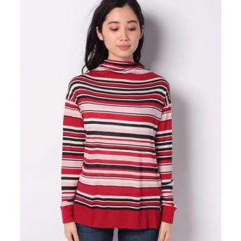 BENETTON (women) ボトルネックボーダーロングTシャツ・カットソー(レッド)【返品不可商品】