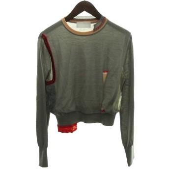mame kurogouchi 19AW「Layered Collage Knit Pullover」レイヤードカレッジニット グレー サイズ:3 (
