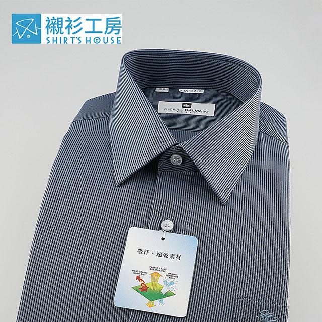 皮爾帕門pb藍底黑條紋搶先上市、品味時尚型男穿搭、吸汗速乾特殊材質、合身長袖襯衫69152-09 -襯衫工房
