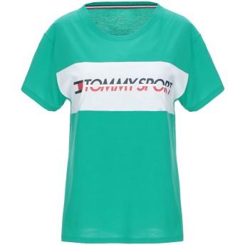 《セール開催中》TOMMY SPORT レディース T シャツ グリーン S コットン 60% / ポリウレタン 40%