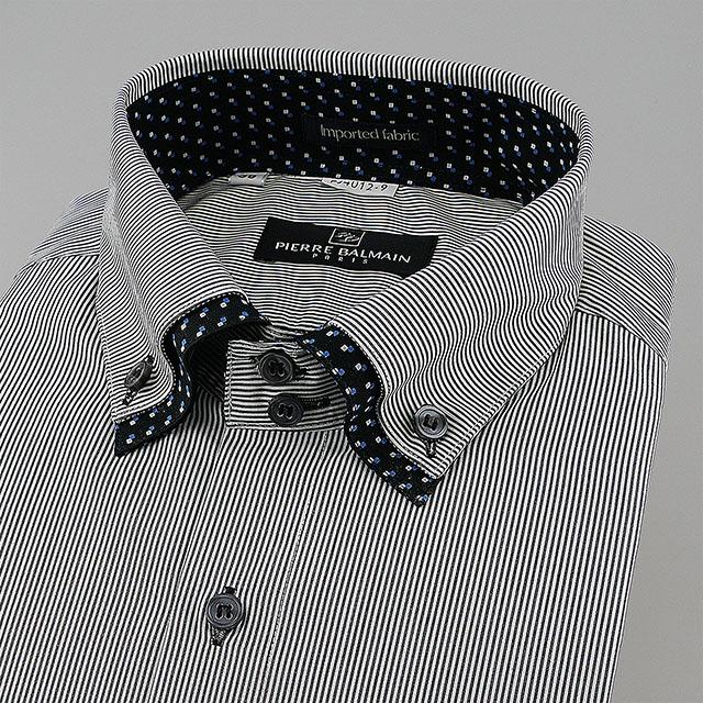 皮爾帕門pb黑色細條領子拼接加釘釦、領座双釦、袖口可反摺固定、歐風時尚合身短袖襯衫64012-09 -襯衫工房