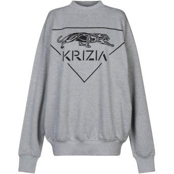 《セール開催中》KRIZIA レディース スウェットシャツ グレー one size コットン 100%