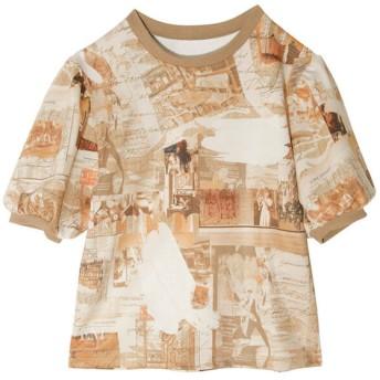 エイミーイストワール eimy istoire eimy Paris art パフスリーブTシャツ (BEIGE)