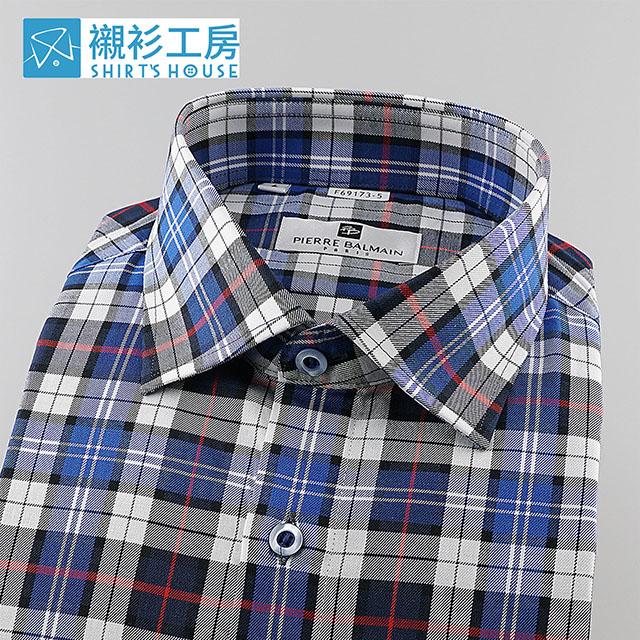 皮爾帕門pb藍色寬格紋、搭牛仔褲帥氣休閒、適合家庭親子日穿著長袖襯衫69173-05 -襯衫工房