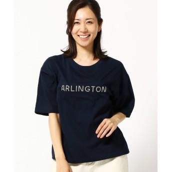 (Grand PARK/グランドパーク)ロゴ刺繍入り半袖クルーネックTシャツ/レディース 67ネイビー