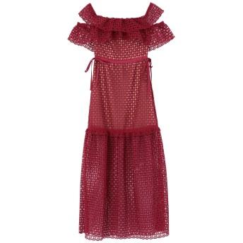 《セール開催中》SELF-PORTRAIT レディース 7分丈ワンピース・ドレス ボルドー 12 ポリエステル 100%