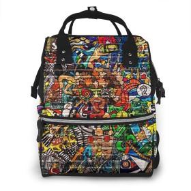 マザーズバッグ リュック グラフィティスポーツ ママバッグ ポケット 軽量 大容量 多機能 オムツ替えシート付き 用品収納 通勤 旅行 出産準備
