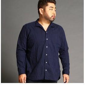 【NICOLE:トップス】<大きいサイズ>タックジャカードアラカルトシャツ