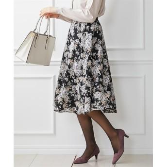 これ一枚で着映えする♪花柄ミディ丈フレアスカート (ひざ丈スカート)Skirts, 裙子