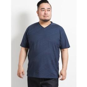 【GRAND-BACK:トップス】【大きいサイズ】レノマオム/renoma HOMME 吸汗速乾バイヤスジャガード ダブルVネック半袖Tシャツ