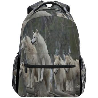 動物オオカミパターン 両肩パック軽量大容量ランドセルユニセックスフィットネスバッグ学校アウトドアビジネス