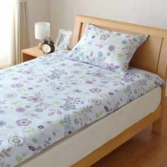 SEK抗菌防臭加工 かわいい花柄 枕カバー サックス (43×63cm)