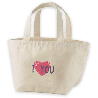 igsticker ランチバッグ ヘヴィー キャンバス プリント ミニトート トートバッグ ナチュラル 白 ホワイト tote bag 013523 ハート ラブ ピンク