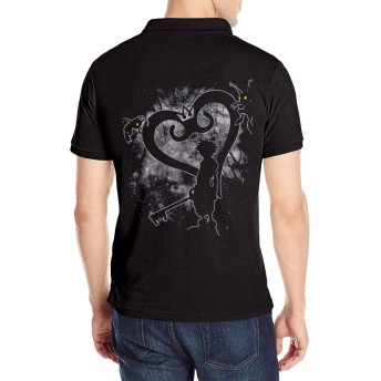 半袖 ポロシャツ メンズ 大きいサイズ ロゴ プリント クラシック キングダムハーツ Poloシャツ 軽量 吸汗通気 Tシャツ バックプリント 抗菌防臭 カジュアル シャツ シンプル 通気性 おしゃれ S-2XL