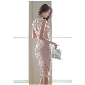 透かし彫りレースバッグヒップレースドレス夏 (Color : Pink, Size : S)