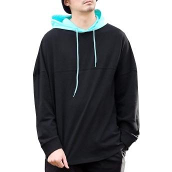 (アークティックプラント) Arctic Plant メンズ 綿100% オーバーサイズ バイカラー 切替 フード付き フットボール tシャツ 長袖 パーカー ブラック×ミント M