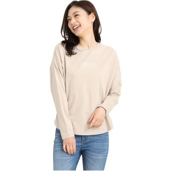 チュニック レディース Tシャツ 長袖 ロゴ 綿 コットン かわいい 春 Honeys ハニーズ ロゴチュニックTシャツ 579011604769 ベージュ LL