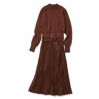 上品プリーツニットドレス〈テラコッタブラウン〉 IEDIT[イディット] フェリシモ FELISSIMO【送料無料】