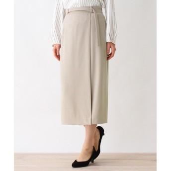 OPAQUE.CLIP(オペークドットクリップ) 【洗える・42(LL)WEB限定サイズ】ダブルクロスバックルナロースカート