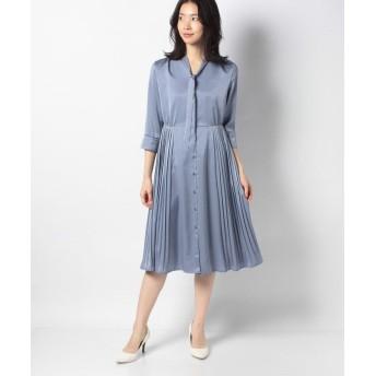 (TONAL/トーナル)ボウタイプリーツオープンドレス/レディース ブルー
