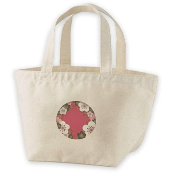 igsticker ランチバッグ ヘヴィー キャンバス プリント ミニトート トートバッグ ナチュラル 白 ホワイト tote bag 005846 クール 和風 和柄 花 フラワー