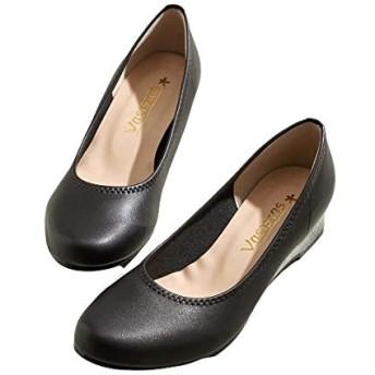 [ニッセン] 靴(シューズ) ラウンドトゥウェッジヒールパンプス 黒 23.5cm