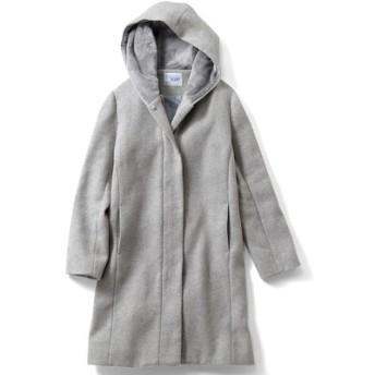 ウール混フード付き きれいめコート〈ライトグレー〉 IEDIT フェリシモ FELISSIMO【送料無料】