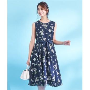 スタクロ リボンベルト付オパールプリントノースリーブワンピース (大きいサイズレディース)ワンピース, plus size dress