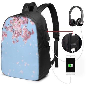青空 碧空 さくら 桜 リュック バックパック 大容量 PC リュックサック 軽量 メンズ レディース 兼用 多機能 バッグ 通勤 修学 学生 旅行 アウトドア USBポート&イヤホンポート搭載 15.6インチPC対応