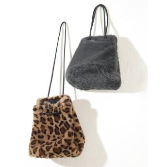 【ティティベイト/titivate】 2wayフェイクファー巾着バッグ