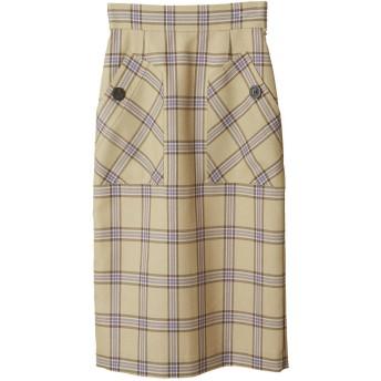 31 Sons de mode トランテアン ソン ドゥ モード 【予約販売】ビックポケットチェックタイトスカート イエロー