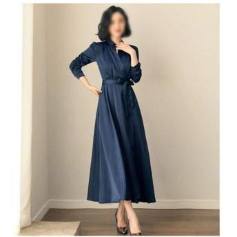 春の婦人服膝レトロなドレス (Color : Blue, Size : L)
