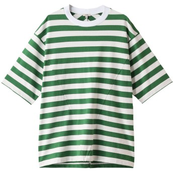 Scye/SCYE BASICS サイ/サイベーシックス メンズ(MENS)ホライズンストライプパネルTシャツ グリーン