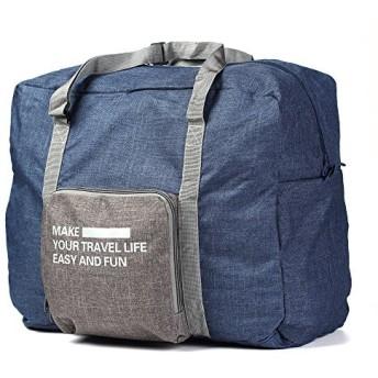 [Buruis] 折りたたみ式旅行ダッフルバッグ キャリーオンラゲッジアンダーシートトートバッグ 防水 軽量 大容量荷物バッグ 男女兼用, ネイビー, midium