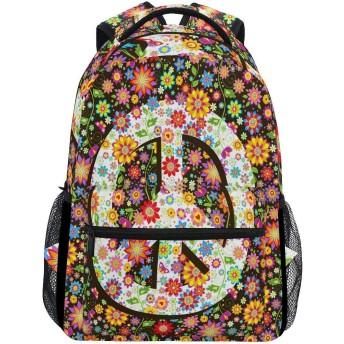 花の花の平和 両肩パック軽量大容量ランドセルユニセックスパソコンバッグ通勤登山旅行