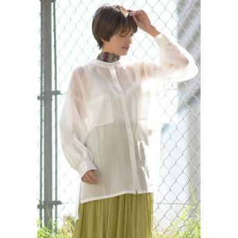 LIPSTAR シアーローンシャツ シャツ・ブラウス,オフホワイト